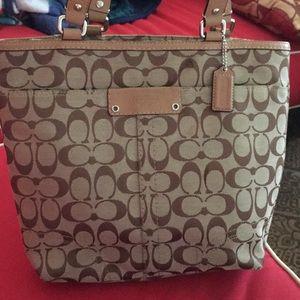 Coach purse tan, canvas